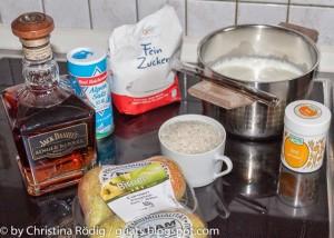 Zutaten Milchreis mit Kardamom Birne: Zucker, Likör, Salz, Kardamom Birne, Whisky